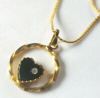 collier pendentif vintage couleur or rond cœur solitaire cristal diamant  COL743
