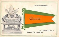 """""""Don't Have Time to Answer Your Ledder"""" In Clovis New Mexico~1914 Pennant PC"""