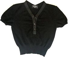 CHANEL 100% cashmere black cropped sweater top grosgrain detail S M 40