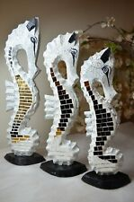 More details for wooden seahorse figurines/white painted/mosaic glass/hand carved/set of 3
