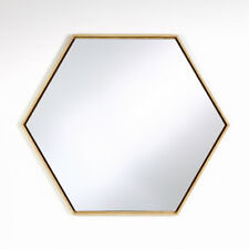 HEX Decorative Hexagon Shape Mirror 52x45cm - Home Decor NATURAL OAK / BLACK NEW
