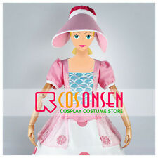 Cosonsen Disney Bo Peep Cosplay Costume Pink Dress All Size With Hat Custom Made