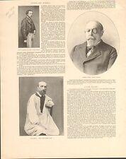 Aurélien Scholl Ecrivain/Jules Dalou sculpteur FRANCE GRAVURE ANTIQUE PRINT 1902