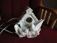 Vintage white Porcelain Birdhouse Night Light Porcelain With Pink Roses Doves