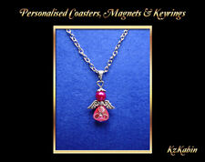 Pink Guardian Angel Charm on Necklace Chain Birthday Gift Keepsake + Bag