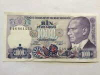 1970, 1,000 Lira Turkey High Grade and Very High Value Banknote