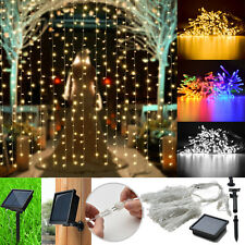 300 LED Solar Powered Fairy String Curtain Light Lamp Outdoor Garden Xmas Party
