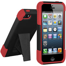 AMZER DOUBLE LAYER HYBRID CASE + KICKSTAND COVER FOR APPLE iPHONE 5 - RED/BLACK