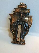 New listing Vintage Copper Sailing Ship Wall Thermometer