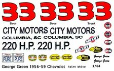 #33 George Green City Motors 1957-58 Chevy 1/64th HO Scale Slot Car Decals