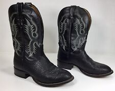 Tony Lama Mens Cowboy Boots Pebble Leather Black Size 8 EE-Extra Wide EUC