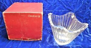 """Original Box Orrefors 99 Sweden Art Clear Cut Crystal 5""""h Bowl Vase #4969-12"""