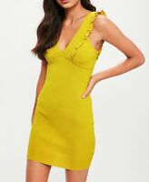 Missguided Dress UK10 12 Mustard  Yellow Knitted Sleeveless Mini Bodycon Party