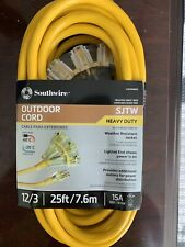 Southwire Outdoor 25 Ft. L Yellow Tri-Source Extension Cord 12/3 Sjtw