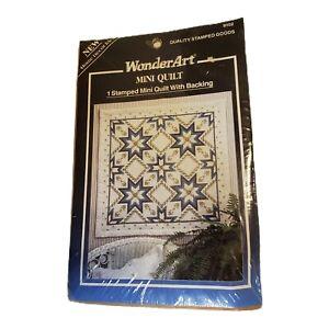 Floral Starburst Stamped Mini Quilt WonderArt Cross Stitch Vtg 9102 36x36 in NOS