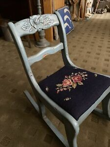 VINTAGE CHILD'S SOLID WOOD ROCKING CHAIR ORIG BLUE PAINT, Needlepoint Seat