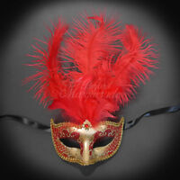 Masquerade Mask Feather, Red Gold Mardi Gras Venetian Ball Mask M6151