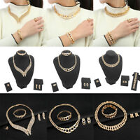 18K Gold Plated Crystal Necklace Chain Bracelet Ring Earrings Women Jewelry Set