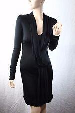 Balenciaga Paris Runway designer Black Pleated detail satiny stretch Dress 36