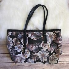 Isabella Fiore Grey Gardens Purse Printed Floral Black Leather Large Tote Bag