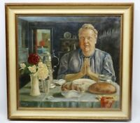 Ölgemälde Tischgebet Signiert und Datiert   B. Strauss