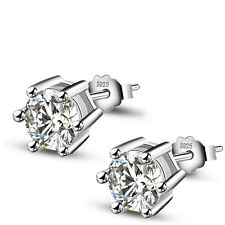1Pair 925 Sterling Silver Women Jewelry Lady Elegant Crystal Ear Stud Earrings
