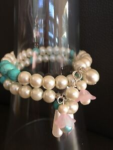 Glass Pearl & Turquoise Howlite Stones Memory Wire bracelet With Pearls Charms