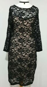 NEW Ladies LACE Dress Black/Nude SPARKLY 3/4 Sleeve UK-14 Fitted MIDI Fitted