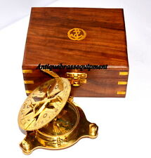 """VINTAGE MARITIME BRASS STAR SUNDIAL COMPASS 4"""" WITH WOODEN BOX"""