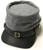 CIVIL WAR CSA CONFEDERATE INFANTRY GREY WOOL KEPI FORAGE CAP HAT-LARGE