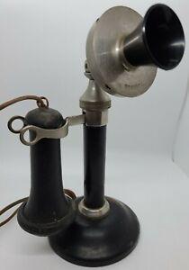 Antique STROMBERG CARLSON TEL. MFG. Co. Nickel Candlestick Telephone Phone