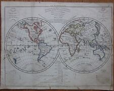 HERISSON: Map of the World Hemispheres - 1800