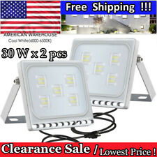 2X 30W Slim LED Flood Light Cool White Outdoor Garden Security Spotlight US Plug