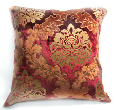 Wa03a Brown Red Gold Print Damask Velvet Cushion Cover/Pillow Case Custom Size*