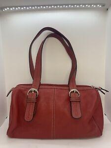TIGNANELLO Red Pebbled Soft Leather Medium Purse Shoulder Bag