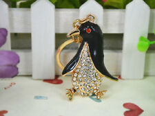 TR049 T Penguin Keyring Rhinestone Crystal Charm Pendant Key Bag Chain Gift