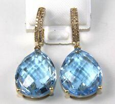 Pear Shape Blue Topaz & Diamond Drop Dangle Earrings 14K Yellow Gold 6.70Ct