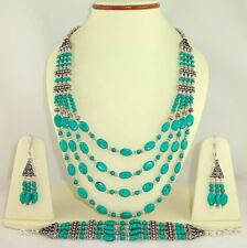 Natural Tibetan Turquoise Gemstone Beaded Necklace & Earrings 109 Grams