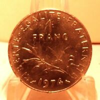 CIRCULATED 1974 1 FRANC FRENCH COIN (61517)1.....FREE SHIPPING !!!!!