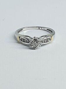 Genuine Solid 10k Diamond Ring in White Gold Val$940