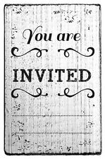 RoyalPosthumus Vintage Stamp You Are Invited v01046 Wood Rubber Mounted