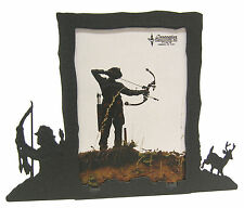 "Bow Hunting Buck Deer Black Metal Picture Frame 3.5""x5"" - 3""x5"" V Archery Hunt"