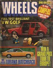 Wheels Apr 76 Golf Mk1 Mazda 929 Leyland Mini Torana Alfasud  News:  •