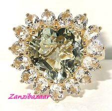 FANCY HEART-CUT GREEN AMETHYST & TOPAZ YELLOW GOLD RING