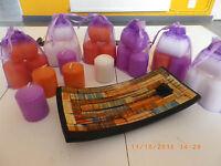 Bougies votives décoration de tables chauffe plat parfumées X 18 +sachet organza