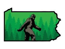 Pennsylvania State Shape with Bigfoot (Bumper Sticker)