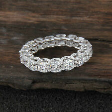 14K White Gold In Cushion Cut 7.0 Ct Diamond Full Eternity Wedding Band Ring
