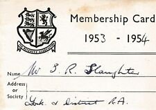 THE REFEREES MEMBERSHIP ASSOCIATION MEMBERSHIP CARD 1953-1954