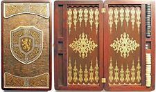 Handmade Backgammon Set Graf excellent quality board Embossing on leather brass