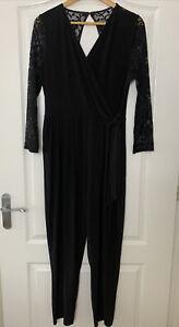 WALLIS Black Lace Long Sleeve Belted Stretch Wrap Jumpsuit UK 16 EU 44 VGC